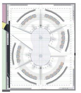 Die Arbeitsplatzgruppen sind rund herum im Raum platziert. Die durchdachte Lichtgestaltung sowie Glaswände und die freie, von oben beleuchtete Fläche in der Mitte schaffen eine offene Sicht von überall.