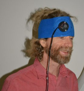 The author experimenting with Transcranial Near-Infrared Light Therapy (NILT).