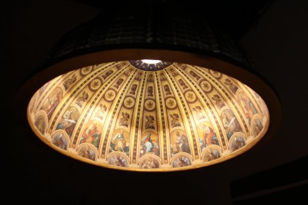 Pendant lamp with church painting inside by Studio AMeBE