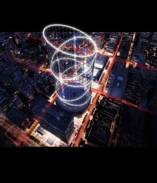"""Der """"Halo tower"""" in Manhattan bei Nacht"""