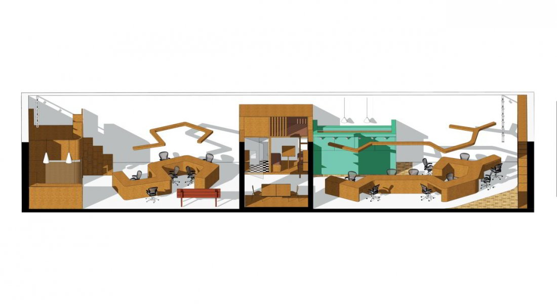 The drawing shows how the luminaire design and the office furniture are aligned to an optimum.