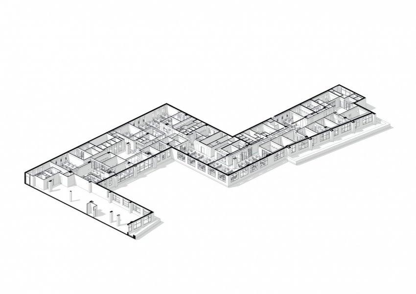 Lichtboxen werden als grafische Elemente in langgezogenen Fluren eingesetzt.