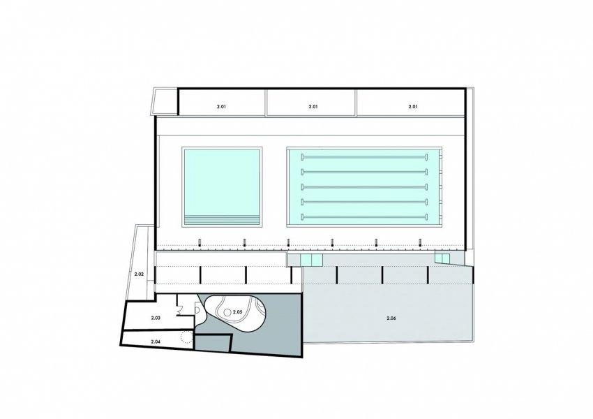 Ground plan, first floor, top level.