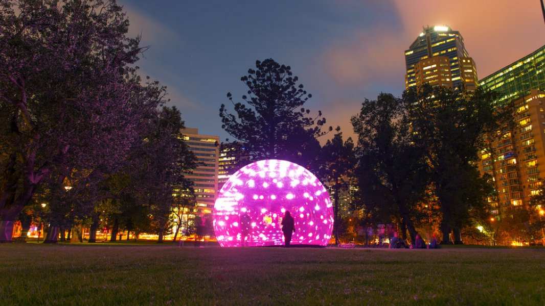 """A close-up of the installation """"Light Bubble"""""""
