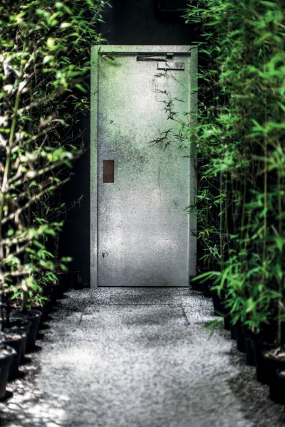 A door next to plants.